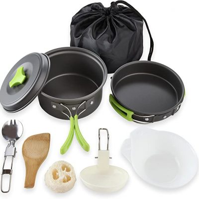 MalloMe Camping Cookware Mess Kit All 10 Items