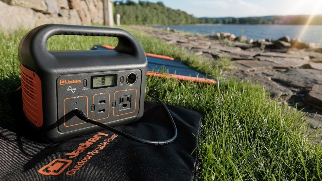 Jackery Portable Power Station Explorer 240 Being Recharged With Solar Panels